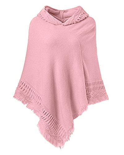 SUNNYME Damen Strick Poncho Cape Überwurf V-Ausschnitt Batwing Crochet Hoodie Strickjacken Rosa One Size