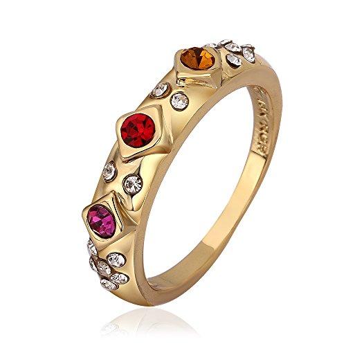 NYKKOLA Beautiful Fashion 18K amarillo chapado en oro cristal rojo Diamante Anillo Banda