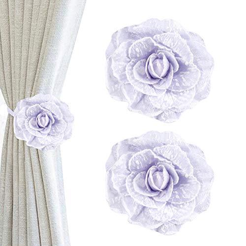 Chinashow 1 para Vintage Tuch Blume Magnet Vorhang Raffhalter Blume Vorhang Clips Dekorative Vorhang Holdbacks, Weiß