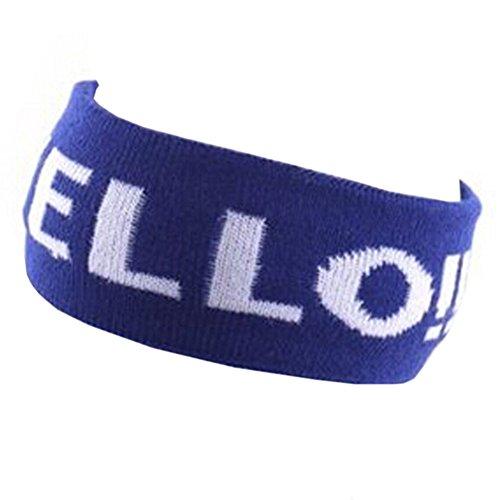 Knit Letters conception Band Hair Large Sport élasthanne Bandeau Bonjour Bleu