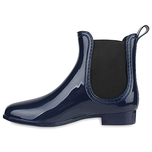 Bequeme Stiefeletten | Damen Chelsea Boots | Gummistiefel Lack Schuhe Dunkelblau
