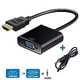 DUTISON HDMI auf VGA Adapter mit Audio, Vergoldet 1080P HDTV Aktiv Audio Übertragung Konverter für PC Laptop, TV Box, Xbox, PS4, Monitor, Projector, DVD, HDTV, Chromebook, Raspberry Pi