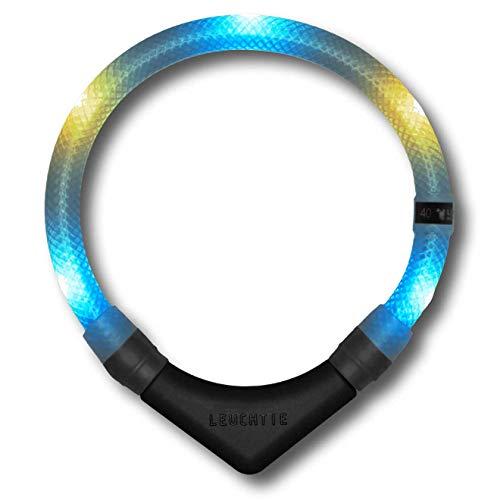 LEUCHTIE® Leuchthalsband Premium eisblau-vanille Größe 55 I LED Halsband für Hunde I konstante Leuchtkraft I wasserdicht I extrem hell*