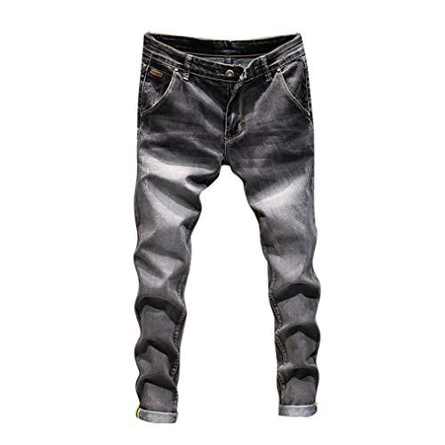 GreatestPAK Pants Vintage Wash Herren Jeans Casual Herbst Denim Baumwolle Hip Hop Arbeit Hosen Hosen, 36,Schwarz