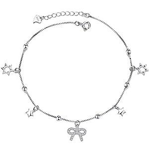925 Sterling Silber Fußkettchen für Damen,Bogenmotiv Fußkette mit Stern Sommer Schmuck mit Geschenkbox für Valentinstag Geburtstags