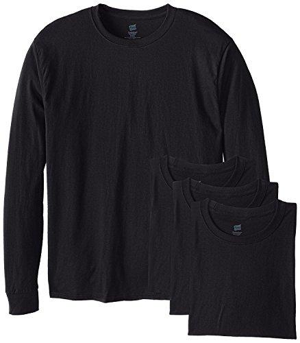 Hanes Mens Long-Sleeve ComfortSoft T-Shirt (Pack of 4) Black
