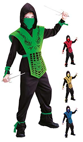 Kind Kostüm Ninja Echte - Foxxeo schwarz grünes Ninja Kostüm für für Jungen schwarzes Ninjakostüm Kinderkostüm Größe 122-128
