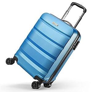 REYLEO Maleta de Cabina Rígida Ligera Equipaje de Mano de ABS con 4 Ruedas Duales Giratorias, Candado de Combinación 55 * 35 * 22CM – Azul – 33L