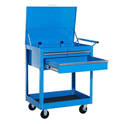 HomCom Carro de Herramientas tipo Caja o Armario de Almacenamiento Móvil Mueble con Ruedas para Taller Garaje o Hogar   Chapa de Acero   Color Azul – 68 x 46 x 84cm