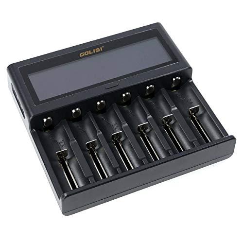 Golisi Smart S6 Charger, Ladegerät mit 6 Ladeschächten, ideal für e-Zigarette