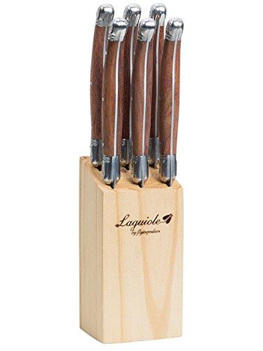 FlyingColors Laguiole Set di coltelli da tavola. Acciaio inox, blocco di legno, manico in legno, 6 pezzi. I-TLTW-W006