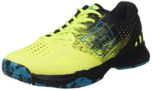 Wilson Kaos Comp, Zapatillas de Tenis Hombre, Amarillo (Safety Yellow/Black/Enamel Blue), 44 EU