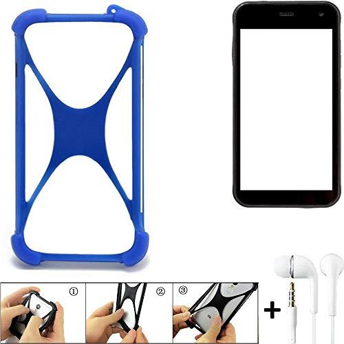 K-S-Trade Handyhülle Cyrus CS 22 Bumper Schutzhülle Silikon Schutz Hülle Cover Case Silikoncase Silikonbumper TPU Softcase Smartphone, Blau (1x), Headphones