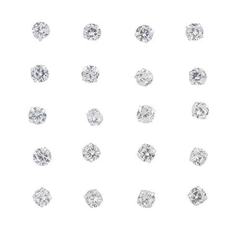 Lux Accessoires Silvertone Cristal Solitaire Pierre Multi Ensemble de boucles d'oreilles 10PC