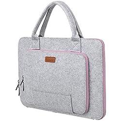 """Ropch 17 17.3 Pouces Housse Ordinateur Portable Laptop Sleeve Case Sacoche Poche Etui Pochette avec Poignée pour 17.3"""" Acer / Asus / Dell / HP / Lenovo - Gris & Rose"""