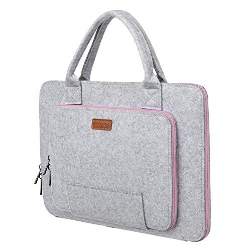 Ropch 15,6 Zoll Filz Sleeve Hülle Laptop Tasche für 15 - 15,6 Zoll Acer / Asus / Dell / HP / Lenovo - Grau / Rosa