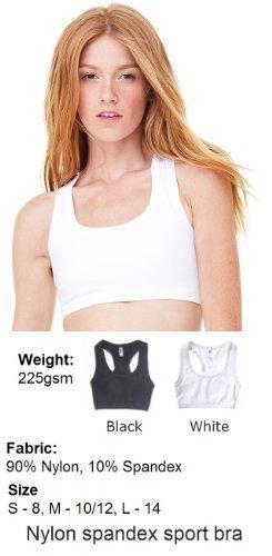 Damen Nylon Spandex Sport BH Training & Fitness Damen Dual Layer Sportbekleidung, Schwarz (Bella-nylon-sport-bh)
