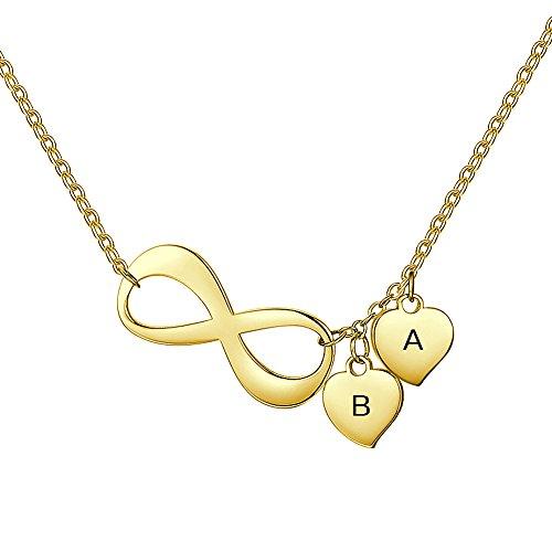 Soufeel Damen Personalisierte Namenskette Zwei Herz für Gravur (Nur EIN Buchstabe) 925 Sterling Silber 14K Gold Vergoldet