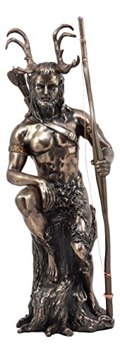 Ebros Keltisches Pagan God Herne The Hunter Statue 27,9 cm Hoch in Bronze Patina die gehörnten Gott Wicca Deko Figur
