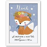 Geschenk zur Geburt Taufe Fuchs Kunstdruck Poster - ungerahmt - Bild mit Name personalisiert Baby Mädchen Junge Kind DIN A4