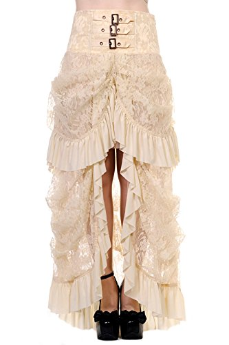 Gonna, colore: beige, in pizzo avviato sul fronte steampunk elegante, stile gotico, Banned bianco Large