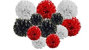 Paquete de 12 unidades de pompones de papel de seda para colgar guirnaldas para decoración de bodas y fiestas (sombra roja/negra, mezcla de 15 cm y 25 cm)