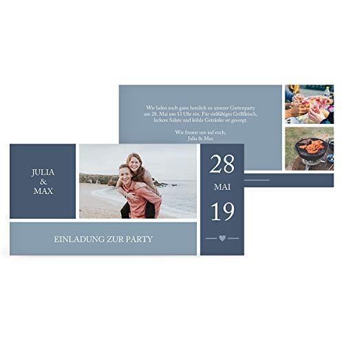greetinks 50 x Einladungskarten für Geburtstag 'Einladung mit Herz' in Blau | Personalisierte Einladungen zum selbst gestalten | 50 Stück Geburtstagseinladungen - Einladungen Party & Jugendweihe