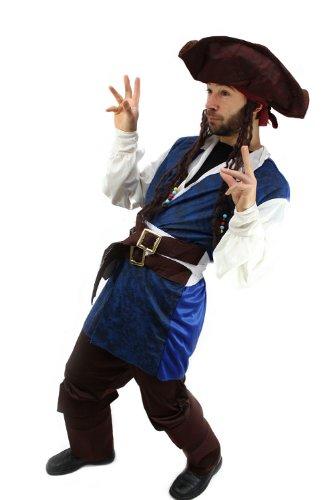 Kostüme Erwachsene Braun Pirat Stiefelstulpen (Kostüm Pirat Herren Karibik Freibeuter Gr.)