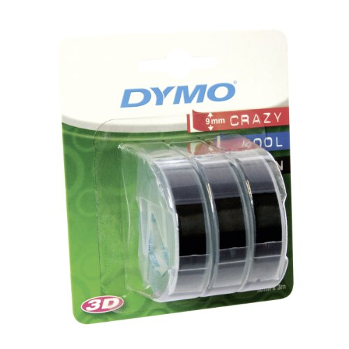 dymo-embossing-tape-self-adhesive-9-mm-x-3-m-white-print-on-black-pack-of-3