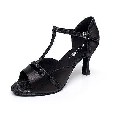 Scarpe da ballo - Non personalizzabile - Donna - Latinoamericano / Salsa - Tacco a rocchetto - Satin - Nero / Viola Purple