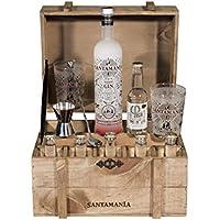 Santamanía Ginebra Premium Artesanal 100% natural. Cofre roble regalo Ginebra London Dry Gin destilada en España de forma sostenible - 6500gr