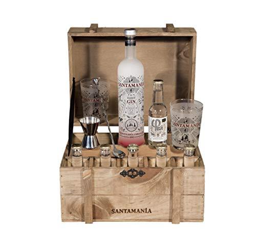 Santamanía Ginebra Artesanal Premium 100% natural. Cofre roble regalo Ginebra London Dry Gin destilada en España de forma sostenible - 6500gr