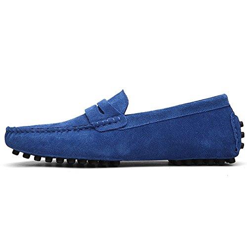 Herren Klassische Mokassin Lederschuhe Bootsschuhe Flache Slippers Wildleder Loafers Fahren Halbschuhe Marineblau