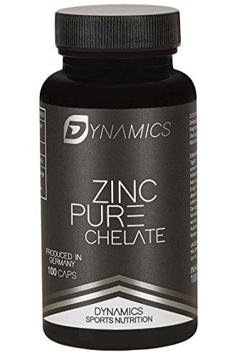 Dynamics Nutrition Zink-Kapseln hochdosiert 25mg I Hoch bioverfügbares Zink Chelat (Zink-Bisglycinat) I 100 Stück für 3 Monate