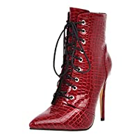 FWEIP Crocodile Stiletto Pointed Zipper Booties Fashion Thin Heels Vintage Women Boots Platform High Ankle Booties