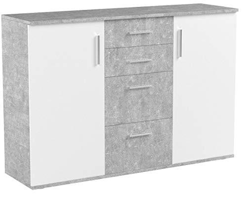 möbelando Kommode Sideboard Schrank Mehrzweckschrank Standschrank Freida V Beton/Weiß
