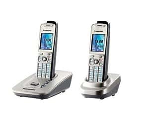 """Panasonic KX-TG8412FRN Téléphone sans fil DECT / GAP Duo Mains Libres SMS Ecran LCD 2"""" jusqu'à 6 combinés Gris"""