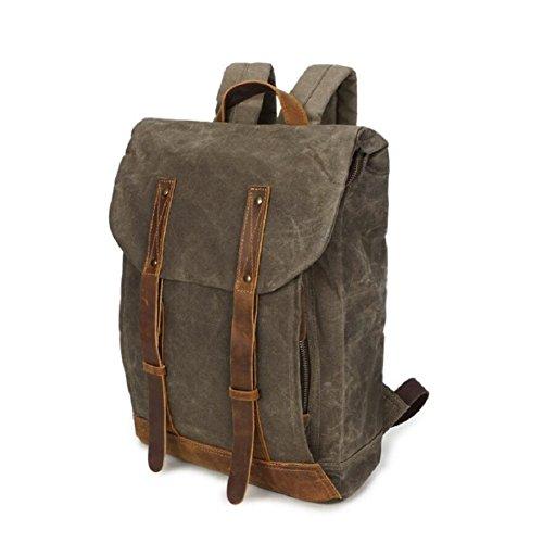 afb9f63161762 LF F Retro Leinwand Leder Rucksack Vintage Rucksack Trekking Freizeit  Schultertasche Handtasche College Daypack Satchel Laptop ...