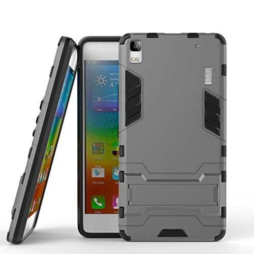 YHUISEN Lenovo A7000 Case, 2 In 1 Iron Armour Tough Style Hybrid Dual Layer Armor Defender PC + TPU Schutzhülle mit Stand Shockproof Case für Lenovo A7000 ( Color : Gray ) Gray