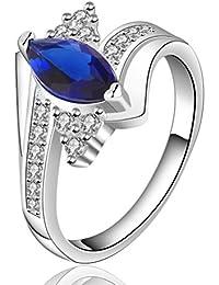 sunifsnow Mujeres Oval anillo de zafiro Zircon simple Azul azul
