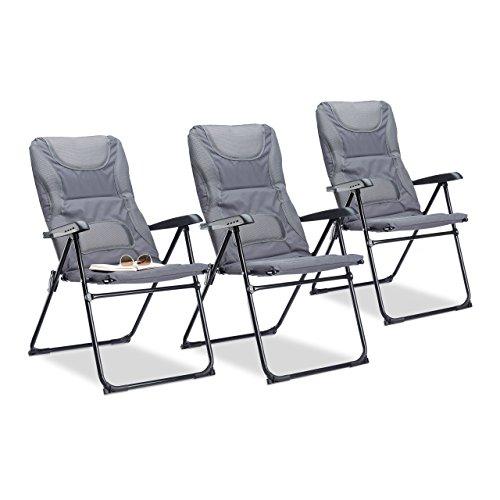 relaxdays 3X Campingstuhl Gepolstert, Klappstuhl, Picknickstuhl, Faltstuhl, Angelstuhl, Gartenstuhl, HxBxT: 107 x 60 x 68 cm, grau