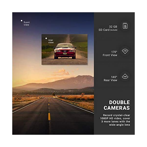 Dash Cam Front and Rear Camera FHD 1080P with Night Vision and SD Card Included, 3 Inch IPS Screen Dash Cam for Cars, 170°Wide Angle Dashboard Camera DVR Motion Detection Parking Monitor G-Sensor HDR 4