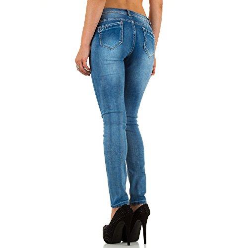 Damen Jeans Hose Used Look Hüfthose Jeanshose Hüftjeans Röhrenhose Skinny Slim Fit Blau Blau
