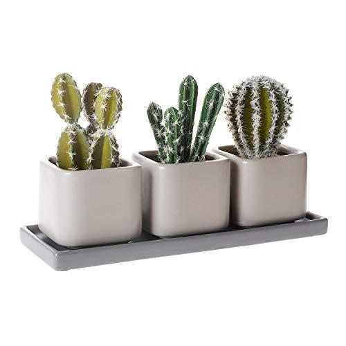 T4U 7cm Matte Keramik Sukkulenten Töpfchen Eckig mit Untersetzer 3er-Set Mini Blumentopf für Kakteen Moos Zimmerpflanzen