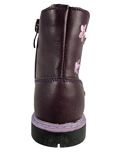 Fille Enfant Bottines Fermeture Éclair Chaussures Fleur Bourgogne Pourpre Pourpre