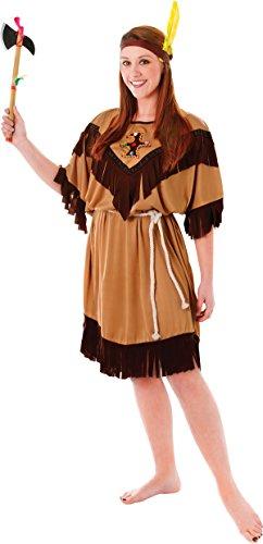 Erwachsene Damen Indianer Squaw Party Kostüm Pocahontas Outfit - 46-50 (Pocahontas Kostüme Erwachsene)