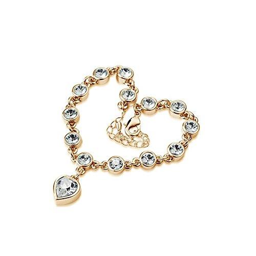 Bling Sterne Damen Charms-Armband Swarovski Element Kristall Zirkonia Golden Herz Armband