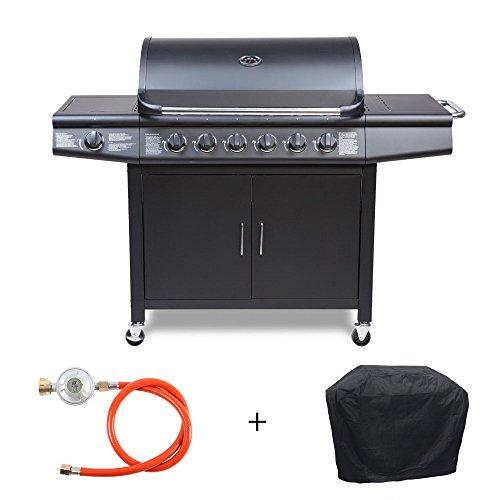 Grill-Set TAINO Gasgrill inkl. Zubehör BBQ Grillwagen 6 Edelstahl-Brenner 1 Seitenkocher Gas-Grill...