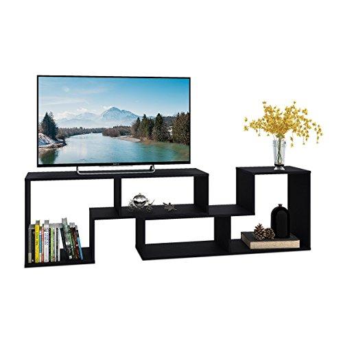 DEVAISE Multifunctional Hölzernen TV-Lowboard/Bücherregal / TV Schrank; 24mm Dicke, Weiß