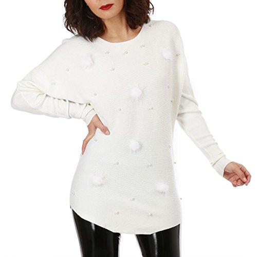 La Modeuse - Pull long en maille fine orné de perles et depompons à l'avant Blanc